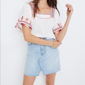Rigid Denim A-Line Mini Skirt: Cutout Edition